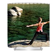 Attractive Woman Doing Yoga Shower Curtain
