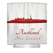 Auckland Skyline In Red Shower Curtain
