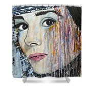 Audrey Hepburn-abstract Shower Curtain
