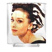 Audrey Hepburn In Watercolor Shower Curtain