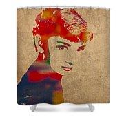 Audrey Hepburn Watercolor Portrait On Worn Distressed Canvas Shower Curtain