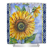 Audrey's Sunflower With Boarder Shower Curtain