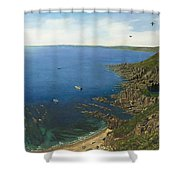 August Afternoon At Whitsand Bay Cornwall Shower Curtain