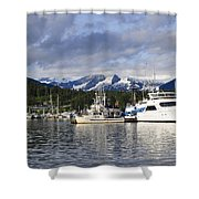 Auke Bay Harbor Shower Curtain