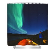 Aurora Borealis Above A Tent And Camper Shower Curtain