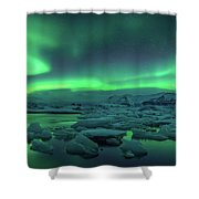 Aurora Borealis Above Jokulsarlon Shower Curtain