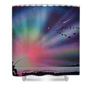 Aurora Borealis Gone Fishing Shower Curtain