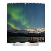 Aurora Borealis Moon-lit Clouds Over Lake Laberge Shower Curtain