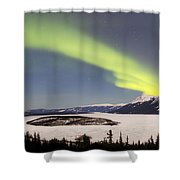 Aurora Borealis Over Bove Island Shower Curtain
