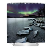 Aurora Borealis Over Sandvannet Lake Shower Curtain by Arild Heitmann