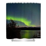 Aurora Borealis Reflected On Lake Laberge Yukon Shower Curtain