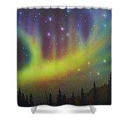 Aurora Borealis Yellow Streak Shower Curtain