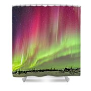 Aurora Panorama Over Northern Studies Shower Curtain