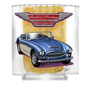 Austin Healey 3000 Blue-white Shower Curtain