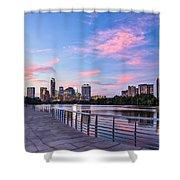 Austin Skyline At Sunset Shower Curtain