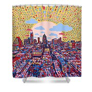 Austin Texas Abstract Panorama 2 Shower Curtain