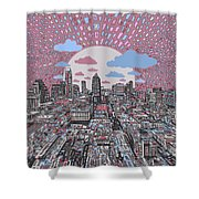 Austin Texas Abstract Panorama 3 Shower Curtain