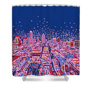 Austin Texas Abstract Panorama Shower Curtain