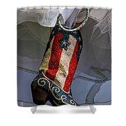 Austin Texas - Red White Blue Sequin Shower Curtain