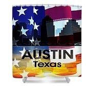 Austin Tx Patriotic Large Cityscape Shower Curtain