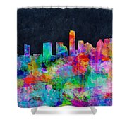 Austin Watercolor Panorama Shower Curtain