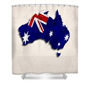 Australia Map Art With Flag Design Shower Curtain
