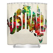 Australia Typographic Watercolor Map Shower Curtain