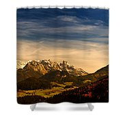 Austrian Autumn Scenic Panorama Shower Curtain