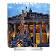 Austrian Parliament Building Shower Curtain by Mariola Bitner