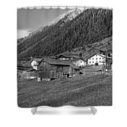 Austrian Village Monochrome Shower Curtain