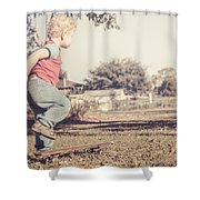 Authentic Faded Brown Vintage Skater Child Shower Curtain