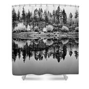 Autumn Reflection Black And White Shower Curtain