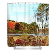 Autmn Pond Closer Look Shower Curtain