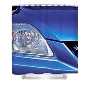 Automobile Head Light Blue Car Shower Curtain