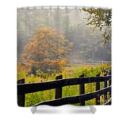 Autumn Along The Fence Shower Curtain