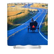 Autumn Amish Buggy Ride Shower Curtain