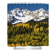 Autumn And Snow Covered Peaks North Shower Curtain