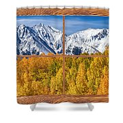 Autumn Aspen Tree Forest Barn Wood Picture Window Frame View Shower Curtain by James BO  Insogna