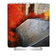 Autumn At Chicago Millennium Park Bp Bridge Mixed Media 03 Shower Curtain