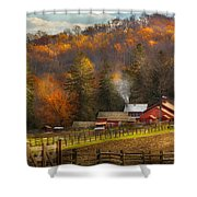 Autumn - Barn - The End Of A Season Shower Curtain by Mike Savad