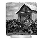Autumn Barn - Upclose Cropped - Black And White Shower Curtain