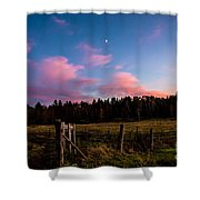 Autumn Barnyard Sunset Shower Curtain