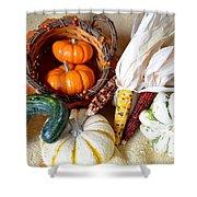 Autumn Basketful With Corn Shower Curtain