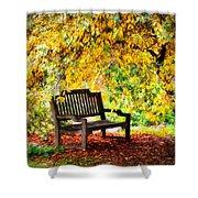 Autumn Bench In The Garden  Shower Curtain