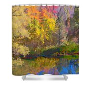 Autumn Beside The Pond Shower Curtain