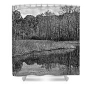 Autumn Black And White Shower Curtain