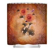 Autumn Blooming Mum Shower Curtain