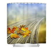 Autumn Bridge Shower Curtain by Veikko Suikkanen