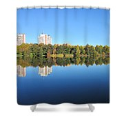 Autumn By The Triangle Lake In Stockholm Shower Curtain
