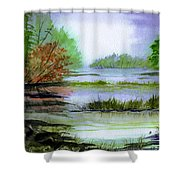 Autumn By The Lake  Shower Curtain
